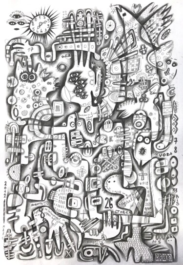 """Drawing titled """"The dream of a feve…"""" by Kaola Oty, Original Art, Pencil"""