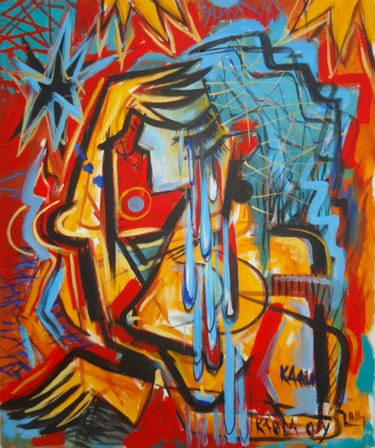 """Painting titled """"Crying"""" by Kaola Oty, Original Art,"""