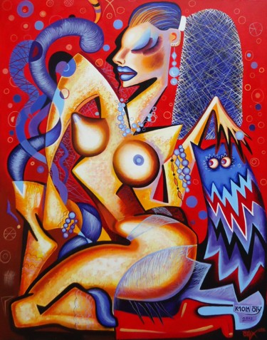 """Painting titled """"Cubist nude"""" by Kaola Oty, Original Art,"""