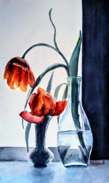 """Painting titled """"Just The Two of Us"""" by Karine Andriasyan, Original Art, Watercolor"""