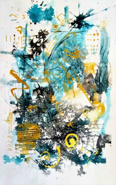 """Painting titled """"Turquoise and Black"""" by Karine Andriasyan, Original Art, Watercolor"""