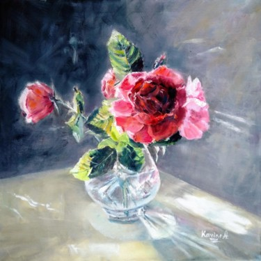 """Painting titled """"Still Life With Ros…"""" by Karine Andriasyan, Original Art, Oil"""