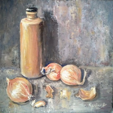 """Painting titled """"The Onion Drama"""" by Karine Andriasyan, Original Art, Oil"""