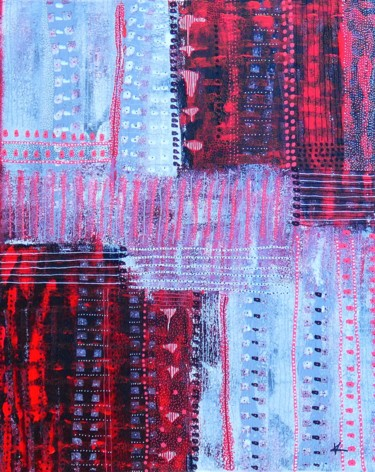 """Painting titled """"FANTAISIE ROUGE"""" by Karine D'Arlhac, Original Art, Acrylic Mounted on Stretcher frame"""