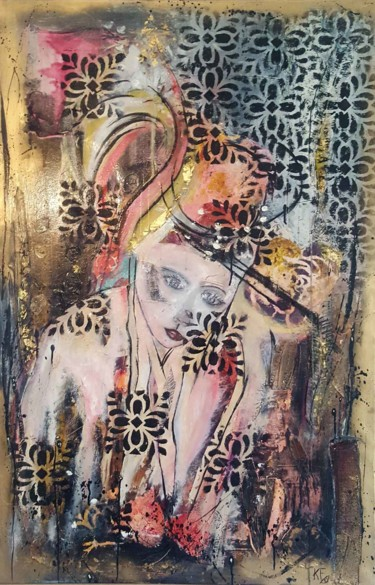 Women Painting, pigments, figurative, artwork by Karine Fromentin