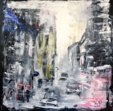 """Painting titled """"Snow in Warsaw"""" by Kasia Pawlak, Original Art, Acrylic Mounted on Stretcher frame"""