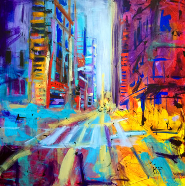 """Painting titled """"East Broadway"""" by Kasia Pawlak, Original Art, Acrylic Mounted on Stretcher frame"""