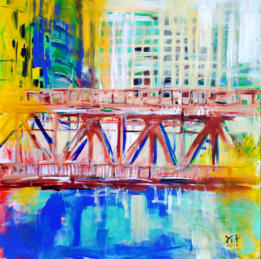 """Painting titled """"Chicago"""" by Kasia Pawlak, Original Art, Acrylic Mounted on Stretcher frame"""