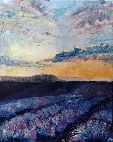 """Painting titled """"Lavender fields"""" by Katarzyna Pałyga, Original Art, Oil Mounted on Other rigid panel"""