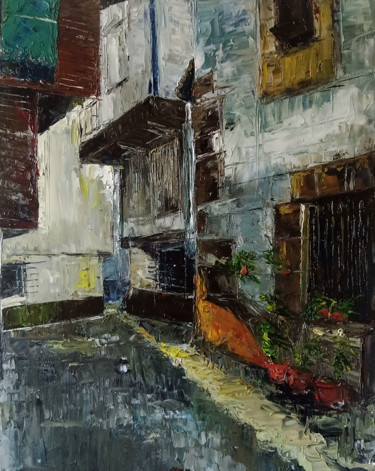 """Painting titled """"Townhouses I"""" by Katarzyna Pałyga, Original Art, Oil Mounted on Other rigid panel"""