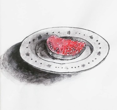"""Drawing titled """"Sandwich with red c…"""" by Katerina Shep, Original Art, Ink"""