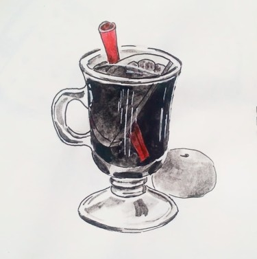 """Drawing titled """"Mulled wine"""" by Katerina Shep, Original Art, Ink"""