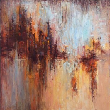 """Painting titled """"Abstract Cityscape…"""" by Kateryna Fedotova, Original Art, Acrylic Mounted on Stretcher frame"""
