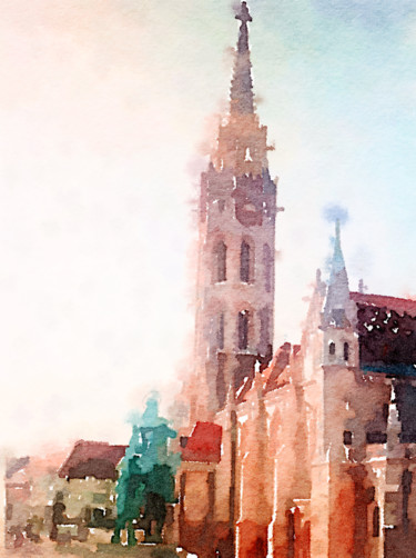 """Painting titled """"Square in Budapest"""" by Kath Sapeha, Original Art, Watercolor"""