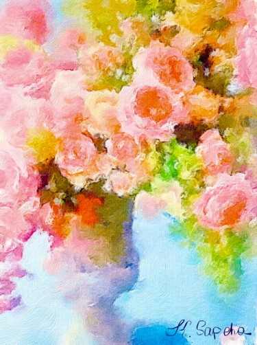 """Painting titled """"Tea roses"""" by Kath Sapeha, Original Art, Oil"""