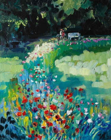 Countryside Painting, oil, impressionism, artwork by Katharina Valeeva