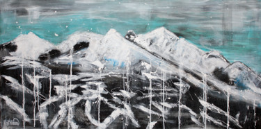 Mountainscape Painting, acrylic, abstract, artwork by Kathleen Artist