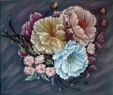"""Painting titled """"these-shy-tea-roses…"""" by Katreen Queen, Original Art, Oil"""