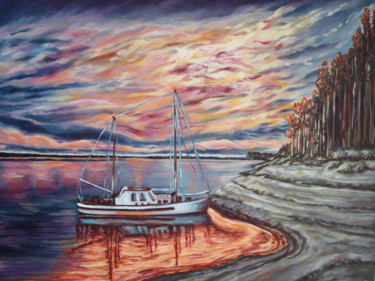 """Painting titled """"the-last-sunset-bef…"""" by Katreen Queen, Original Art, Oil"""