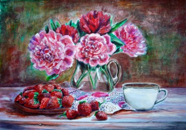 """Painting titled """"Strawberries with c…"""" by Katreen Queen, Original Art, Acrylic"""