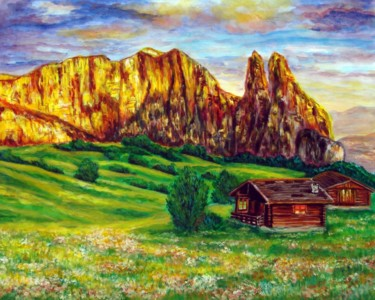 """Painting titled """"old-chalet.jpg"""" by Katreen Queen, Original Art, Acrylic"""