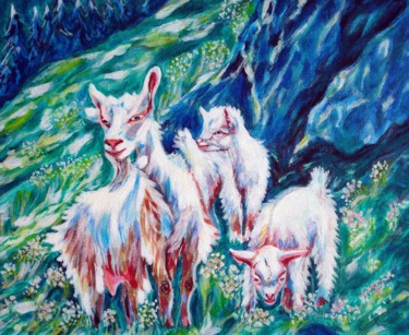 """Painting titled """"goats-family.jpg"""" by Katreen Queen, Original Art, Acrylic"""