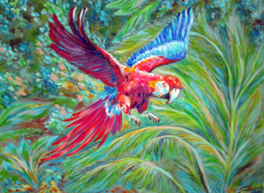 """Painting titled """"flying-parrot.jpg"""" by Katreen Queen, Original Art, Acrylic"""