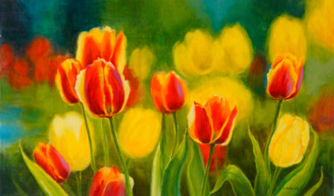 """Painting titled """"Tulips"""" by Katia Zhevno, Original Art, Oil Mounted on Stretcher frame"""
