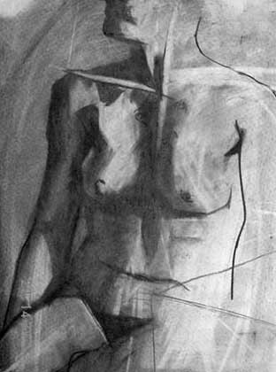 """Drawing titled """"Seated Nude Female"""" by Kel Clarke, Original Art, Charcoal"""