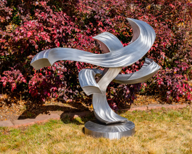 """Sculpture titled """"Chasing the Wind"""" by Kevin Robb, Original Art, Stainless Steel"""