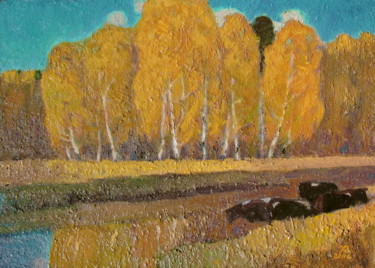 """Painting titled """"Indian Summer on r.…"""" by Валерий Хабаров, Original Art, Oil"""
