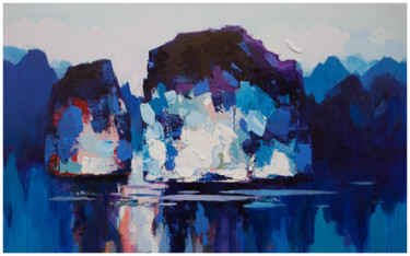 """Painting titled """"Dawn on Halong Bay…"""" by Khanh The Bui, Original Art, Acrylic"""