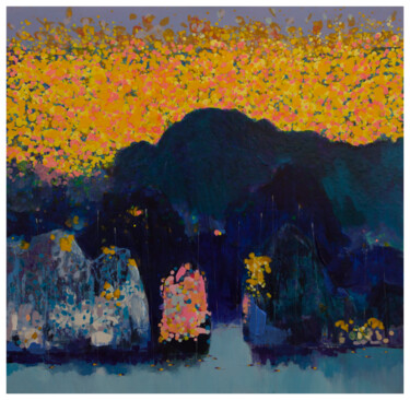"""Painting titled """"Flowers in Ha Long…"""" by Khanh The Bui, Original Art, Acrylic"""