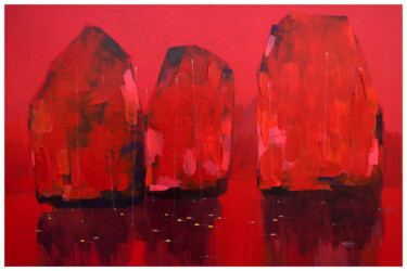 """Painting titled """"Red in Halong Bay N…"""" by Khanh The Bui, Original Art, Acrylic"""
