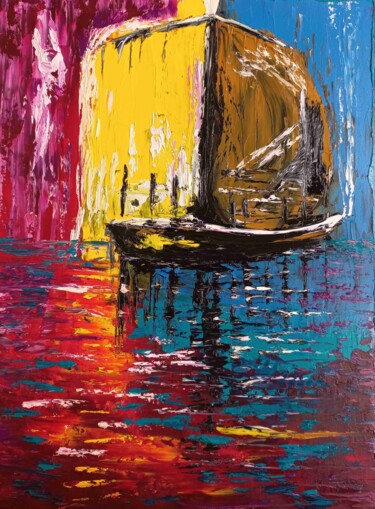 """Painting titled """"The Immaterial Boat"""" by Mansour Aglyamov, Original Art, Oil"""