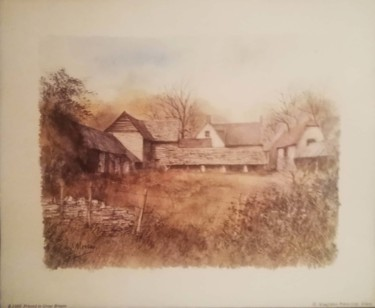 """Painting titled """"Village Household"""" by Pusca Konstance, Original Art, Watercolor"""