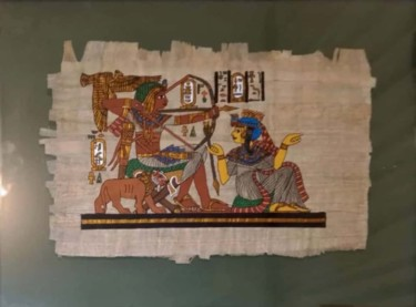 """Painting titled """"Egyptian papyrus pa…"""" by Pusca Konstance, Original Art, Pigments"""