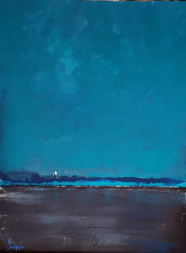 """Painting titled """"Marine nocturne"""" by Dominique Kleiner, Original Art, Acrylic"""