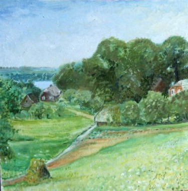 """Painting titled """"Green Lithuania"""" by Christina Lao, Original Art, Oil"""