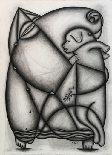 """Drawing titled """"Enveloped by the mo…"""" by Kerry O. Furlani, Original Art, Charcoal"""