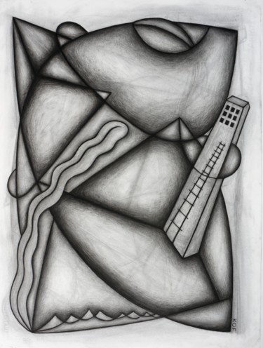 """Drawing titled """"Fatal Noise Upstairs"""" by Kerry O. Furlani, Original Art, Charcoal"""
