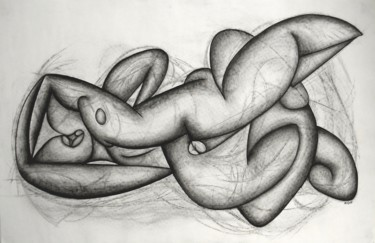 """Drawing titled """"The Kiss"""" by Kerry O. Furlani, Original Art, Charcoal"""