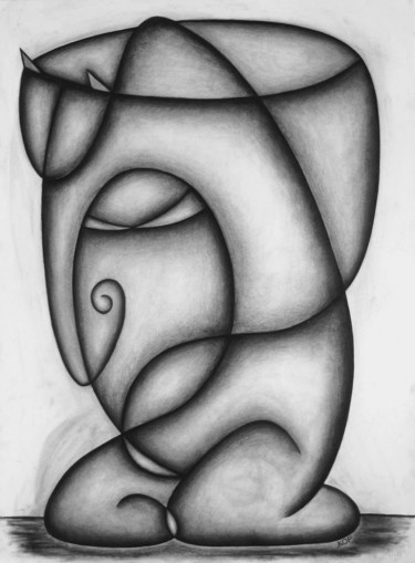 """Drawing titled """"Secrets of Her Heart"""" by Kerry O. Furlani, Original Art, Charcoal"""