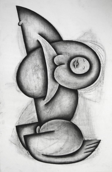 """Drawing titled """"First Silence"""" by Kerry O. Furlani, Original Art, Charcoal"""