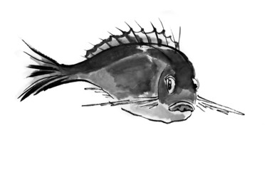"""Drawing titled """"Carp. Chinese art"""" by Alla, Original Art, Ink"""