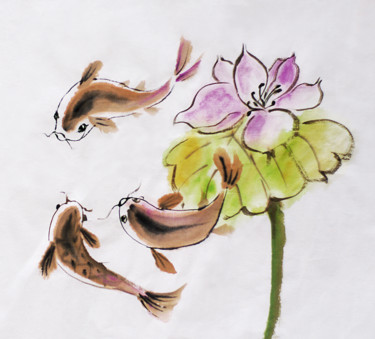 """Drawing titled """"fish and lotus"""" by Alla, Original Art, Ink"""
