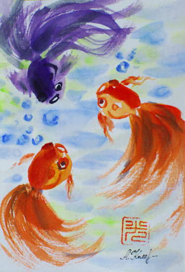 """Painting titled """"Fish. Chinese art"""" by Alla, Original Art, Other"""