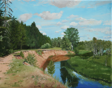 """Painting titled """"River bank"""" by Zander, Original Art, Oil"""