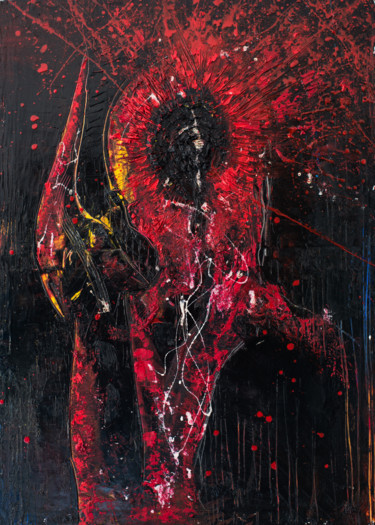 """Painting titled """"Red Shadow IV: Frie…"""" by Mihail Ivanov, Original Art, Oil"""