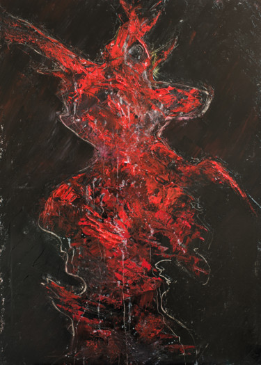 """Painting titled """"Red Shadow I"""" by Mihail Ivanov, Original Art, Oil"""